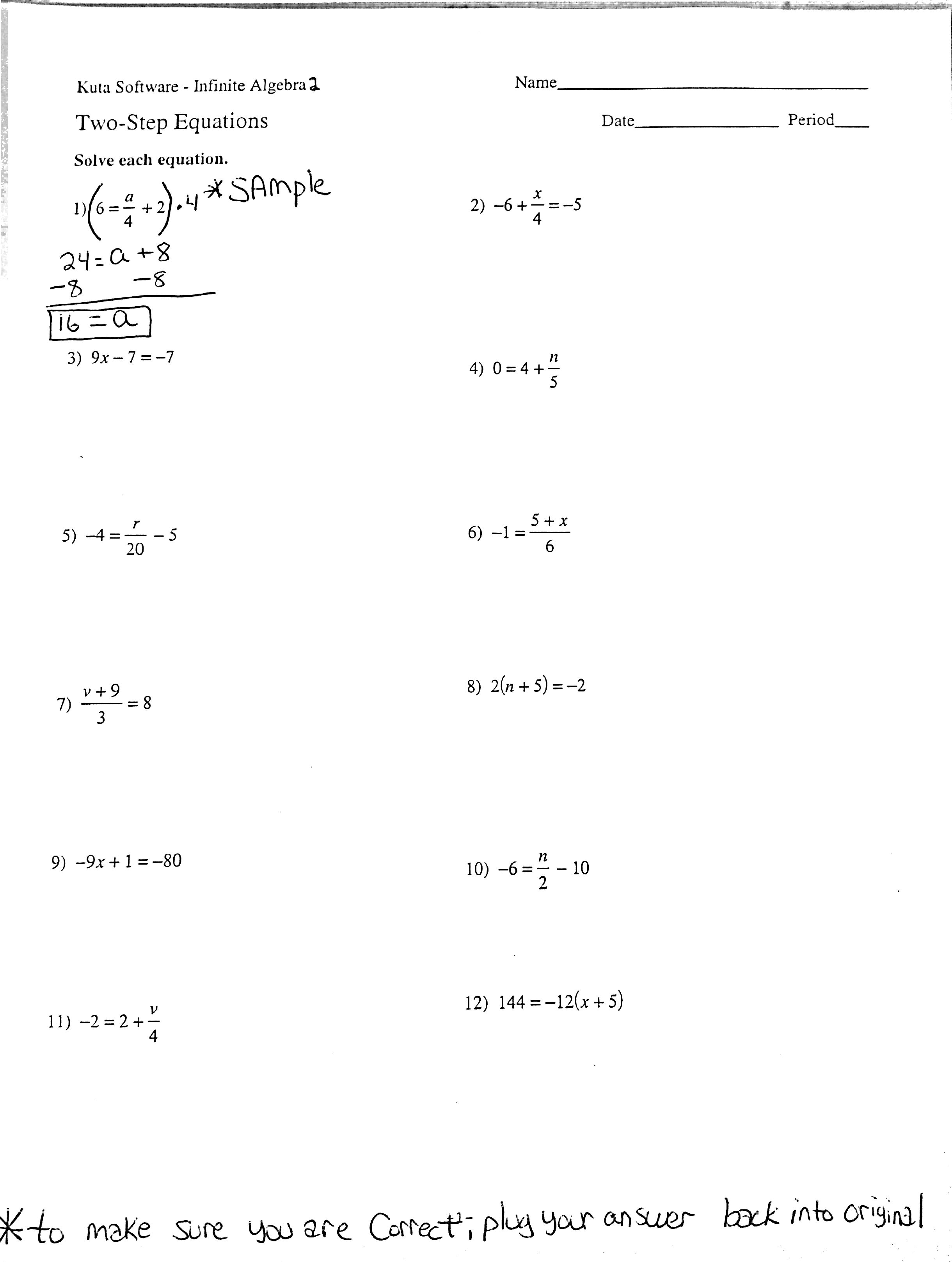 Solving Equations With Fractions Worksheets Versaldobip – Math Worksheets Two Step Equations